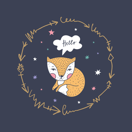 Vector and jpg image, clipart, editable isolated details. Little fox and frame, baby illustration, unique print for posters, cards, mugs, clothes and other.