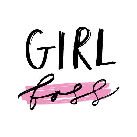 Handbeschriftetes Mädchen-Chef-Druck. Einzigartiges stilvolles Geschenkdesign für Poster, Karten, Tassen, Kleidung und anderes. Vektor-Illustration, isoliert auf weißem Hintergrund.