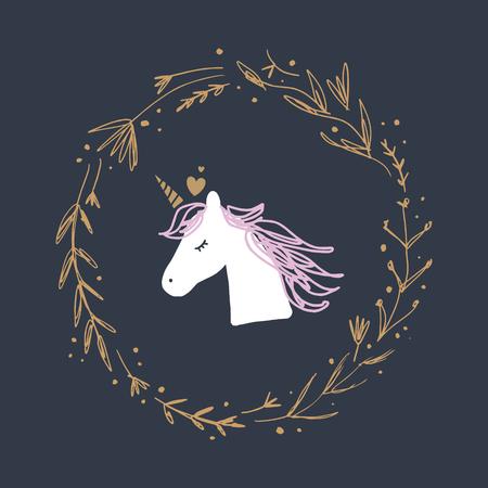 Arte divertido de cabeza de unicornio, ilustración elegante para bebés, impresión única para carteles, tarjetas, tazas, ropa y otros. Imagen vectorial y jpg, clipart, detalles aislados editables. Ilustración de vector