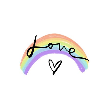 Arco iris pastel LGBT y texto de letras. Colores dibujados a mano del arco iris. Concepto de libertad y amor. Insignia o pegatina. Ilustración de vector.