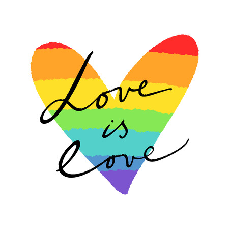 LGBT heart flag and lettering text. Hand drawn colors of the rainbow. Freedom and love concept. Badge or sticker.