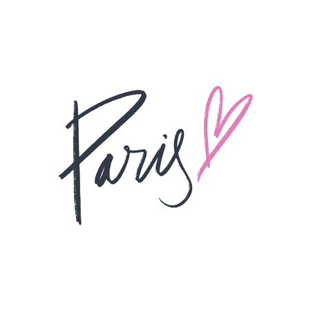 Paris lettering text. Fashion postcard or banner. Vector and jpg image, clipart.