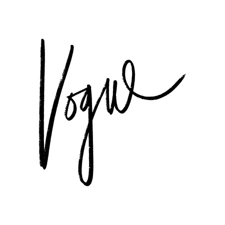 Vogue lettering text. Fashion postcard or banner. Vector and jpg image, clipart. Illustration