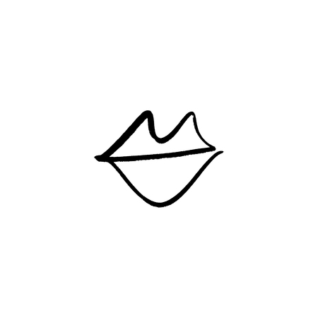 Vector hand drawn lips symbol, logo. Picture, label, print for clothes and other, element for design and other.