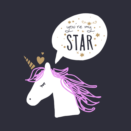 Little unicorn in love, baby stylish illustration, unique print for posters, cards, mugs, clothes and other. Vector and jpg image, clipart, editable isolated details. Illustration