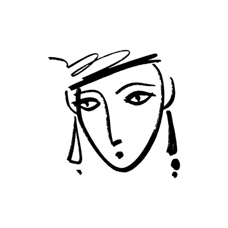 Disegno astratto continuo a una linea, volto di donna etnica. Ritratto in stile moderno. Illustrazione vettoriale. Vettoriali