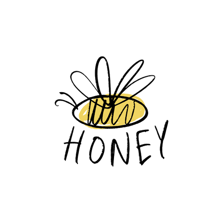 Honey logo. Funny doodle cartoon little bee. Vector and jpg image, clipart.