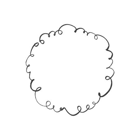 Ornate elegant frame, text template, line wreath decor element, ink stylish postcard decor