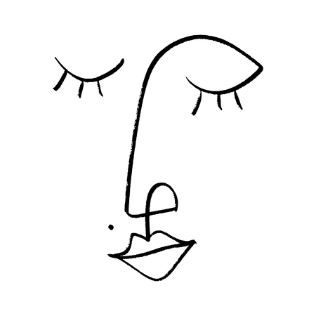 Simple hand drawn black and white trendy line portrait art. Monochrome print for clothes, textile and other