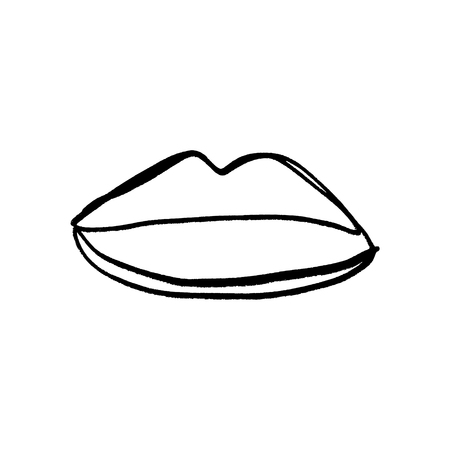 Hand drawn lips symbol, logo. Picture, label, print for clothes and other, element for design and other
