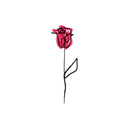 Minimalist contour flower rose drawing. One line art with color