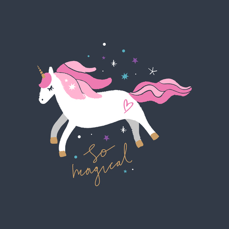 Lovely unicorn, baby stylish illustration, unique print for posters, cards, clothes and stationery. So magical text. Little kawaii pony Illustration