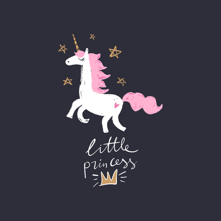 Lovely unicorn little princess, baby stylish illustration, unique print for posters, cards, clothes and stationery. So magical text. Little kawaii pony