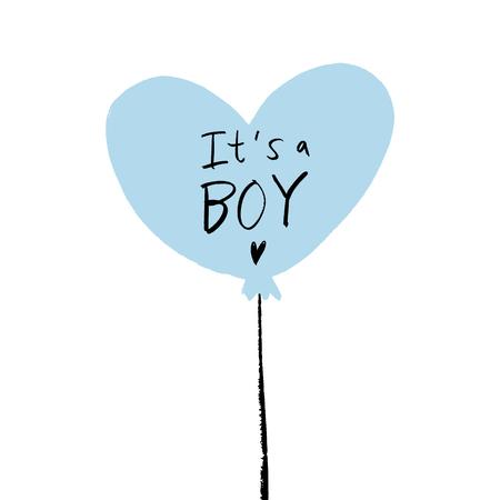 Baby shower poster of ansichtkaart met blauwe hartballon. Uitnodigingssjabloon voor jongenstekst
