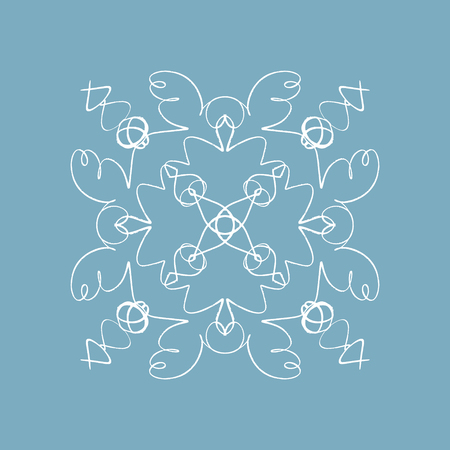Lace snowflake embroidery template. Snowy rosette or flower, oriental ornament on the white background, winter holiday design 矢量图像