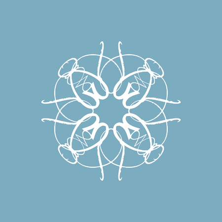 Lace snowflake embroidery template. Snowy rosette or flower, oriental ornament on the white background, winter holiday design Çizim