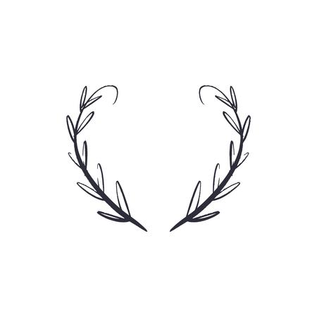 Hand drawn floral frame sketch, laurel. Decor element for your design, EPS