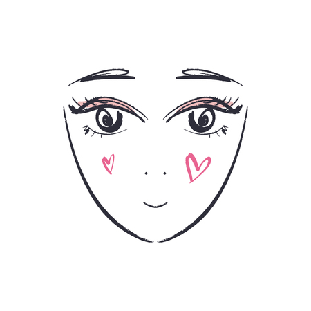 Anime or manga kawaii face hand drawn brush sketch. EPS illustration. Isolated element 일러스트