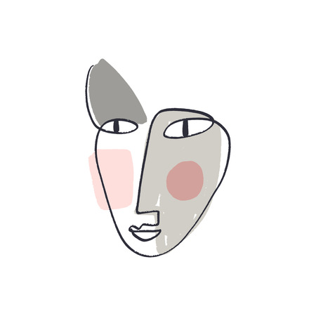 Simple hand trendy line men or woman portrait art. Print for clothes, textile and other. Stylized line art llustration, EPS