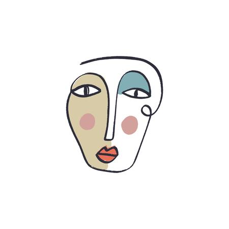 Eenvoudige hand trendy lijn mannen of vrouw portret kunst. Print voor kleding, textiel en andere. Gestileerde lijntekeningen, EPS