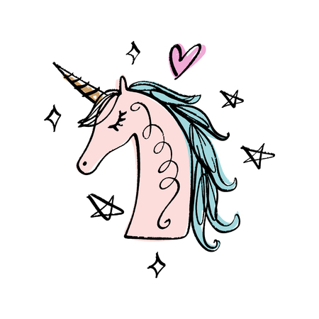 Unicorn drawing. Textile graphic print for t-shirt and other. Pony illustration head EPS Illustration