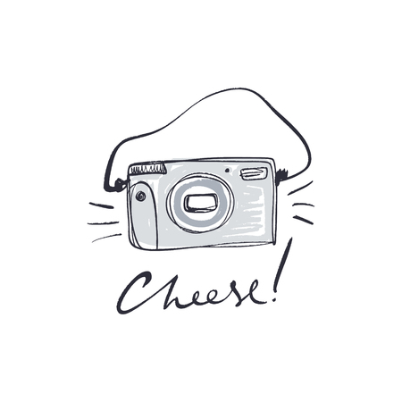 Cepillo de cámara polaroid de película vintage pintada a mano, aislada sobre fondo blanco. Tema de afición por la fotografía