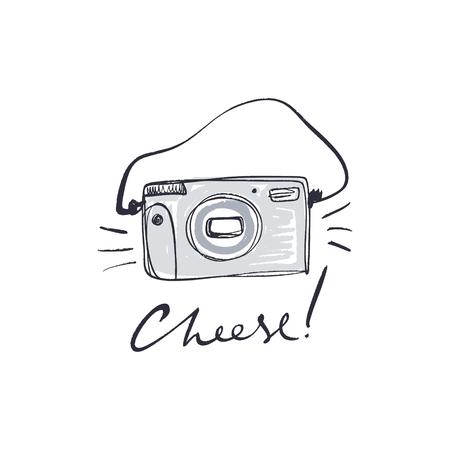 Pennello dipinto a mano vintage film fotocamera polaroid, isolato su sfondo bianco. Tema dell'hobby della fotografia