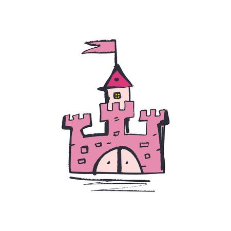 Rapunzel tower. Hand drawn sketch doodle pink princess magic castle art