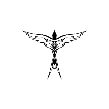 Swallow contour minimalistic symbol, stylized bird, tattoo. Symbol of Estonia, EPS