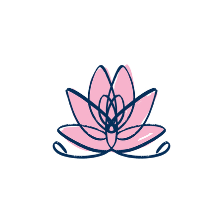 Lotus, harmony and Universe symbol, sacred geometry. Ayurveda and balance logo or label. Tattoo design. Bohemian art for posters and textile. Isolated editable illustration