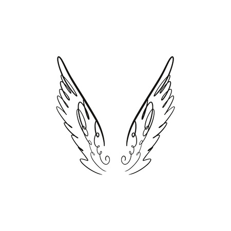 Angel, bird or pegasus pink color wings. Silhouette element. Fantasy illustration. Temporary tattoo or sticker. Trendy hand drawn doodle sketch