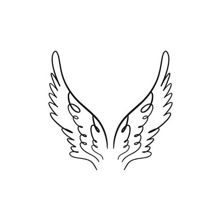Alas de ángel, pájaro o pegaso de color rosa. Elemento de silueta. Ilustración de fantasía. Tatuaje temporal o pegatina. Boceto de doodle dibujado a mano de moda Ilustración de vector
