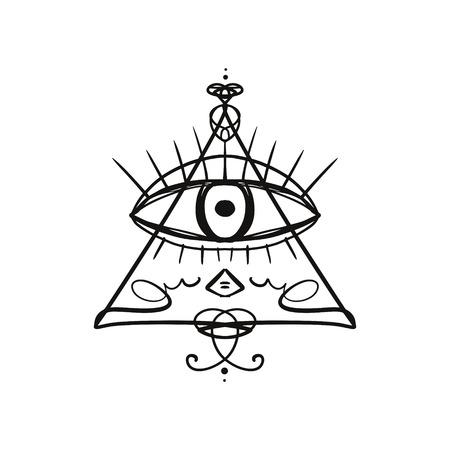 Hand drawn Eye of Providence stylized symbol. Triangle pyramid. Boho alchemy symbol tattoo or sticker. Isolated editable EPS