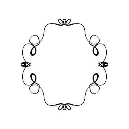 Ornate frame decor element. Detailed ink black outline rich ornament, EPS