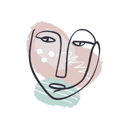 Simple hand trendy line men or woman portrait art. Pastel print for clothes, textile and other. Stylized line art llustration, EPS
