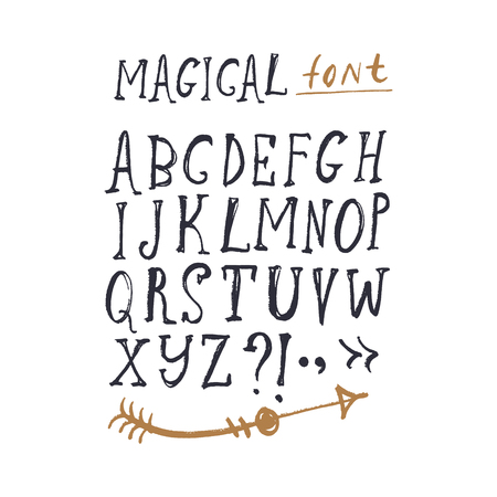 Hand drawn cute font set. ABC, alphabet. Fairy tale letters. Clipart, isolated vector letters and decor elements