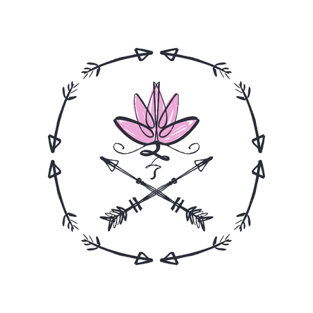Lotus flower line art, harmony and Universe symbol, sacred geometry. Ayurveda and balance theme. Flash tattoo design. Antistress picture. Isolated editable illustration