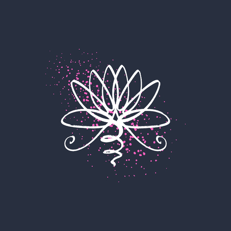 Lotus flower line art, harmony and Universe symbol, sacred geometry. Ayurveda and balance theme. Antistress picture. Isolated editable illustration. Icon for web and apps
