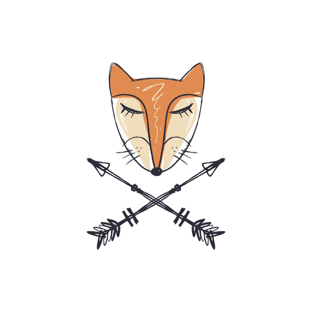 Patterned head of the fox, animal face and arrows label on white background. African or indian totem, boho style, flash tattoo design. Antistress art. Good for t-shirt design, bag, phone case, room poster and postcard Ilustrace