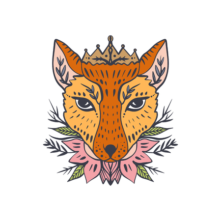 Beautiful girl fox face, boho hippie illustration. Portrait with floral ornament. Northen style, sticker. Antistress art