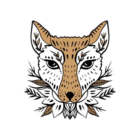 Beautiful girl fox face, boho hippie illustration. Portrait with floral ornament. Northen style, sticker. Antistress art Banque d'images - 116555731
