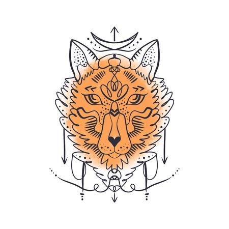 Symbole de l'alchimie. Enfant de lune. Beau totem loup ou renard, toile de fond aquarelle, illustration boho hippie pour croquis de tatouages. Style nordique, autocollant. Art anti-stress
