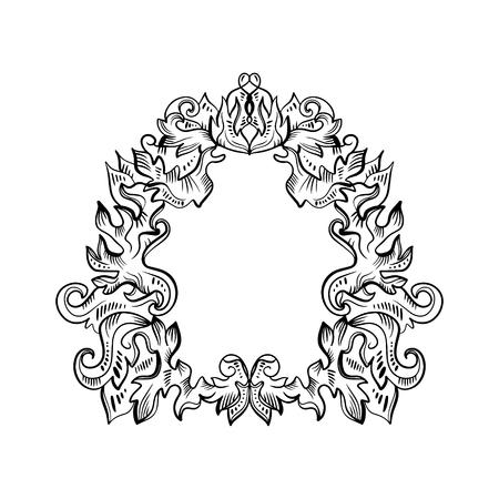 Barokowa rama dekoracyjna szczegółowa bogata luksusowa ozdoba, vintage grafika liniowa