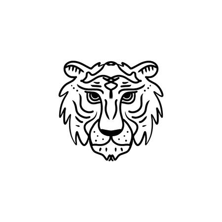 Tiger line art minimal logo. African or indian totem, boho style, flash tattoo design. Good for t-shirt design, bag, phone case, room poster and postcard