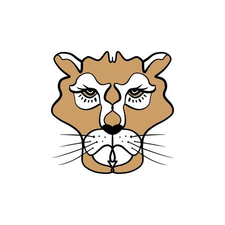 Lioness line art minimal logo. African totem, boho style, flash tattoo design. Good for t-shirt design, bag, phone case, room poster and postcard