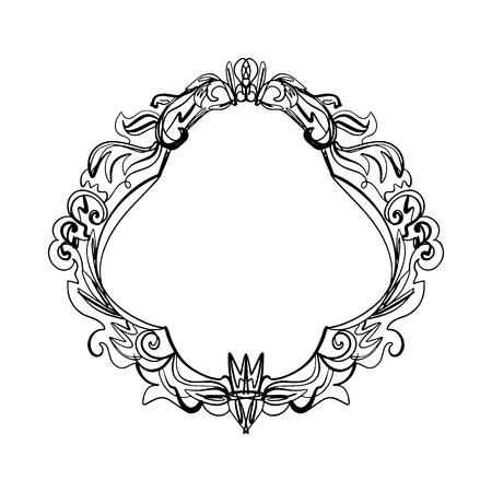 Retro elegante cornice barocca dettagliata decorativa ricca ornamento di lusso, grafica vintage line art
