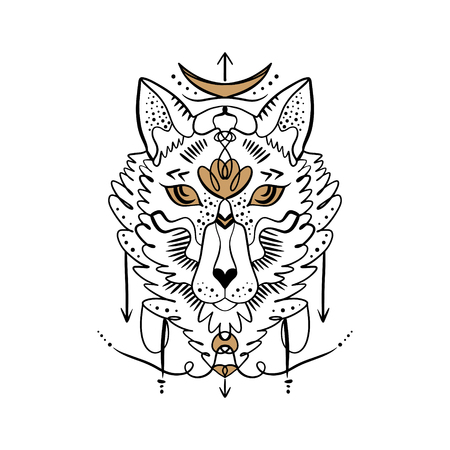 Moonchild. Beautiful totem wolf or fox, boho hippie illustration for sketches of tattoos. Northen style, sticker. Antistress art. Good for t-shirts design, bags, phone cases