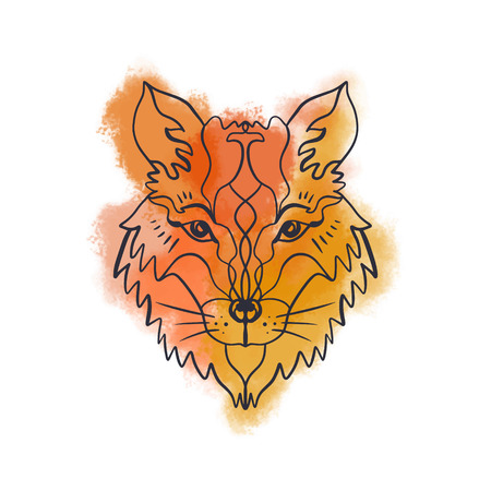 Brush paint background. Beautiful totem wolf or fox, boho hippie illustration for sketches of tattoos. Northen style, sticker. Antistress art. Good for t-shirts design, bags, phone cases