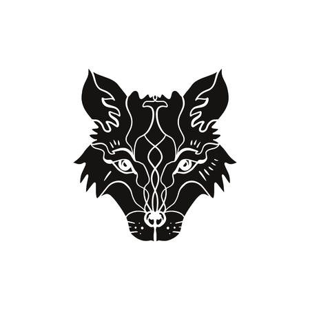 Animal flash tattoo. Beautiful totem wolf or fox, boho hippie northen style, sticker. Antistress art. Good for t-shirts design, bags, phone cases, room posters, postcard and web Vettoriali