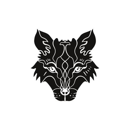 Tatuaje flash de animal. Hermoso tótem lobo o zorro, estilo boho hippie norteño, pegatina. Arte antiestrés. Bueno para el diseño de camisetas, bolsos, fundas de teléfonos, carteles de habitaciones, postales y web.